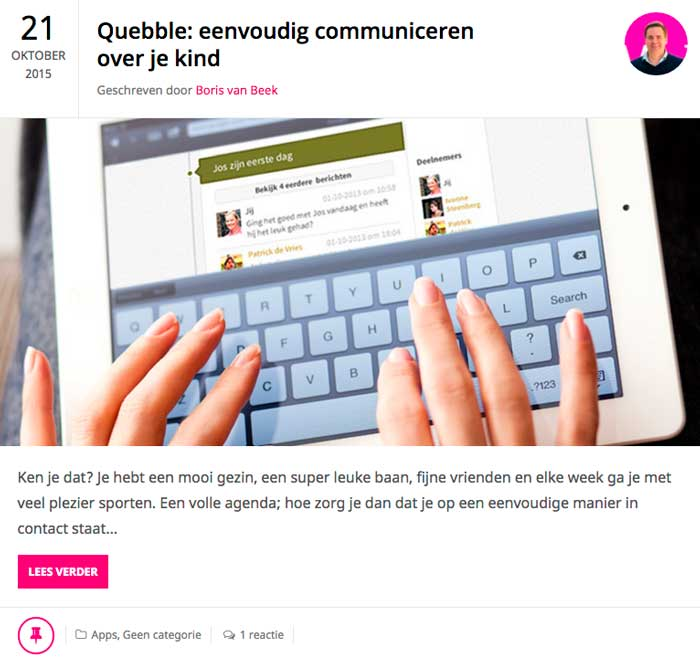 Quebble-communiceren